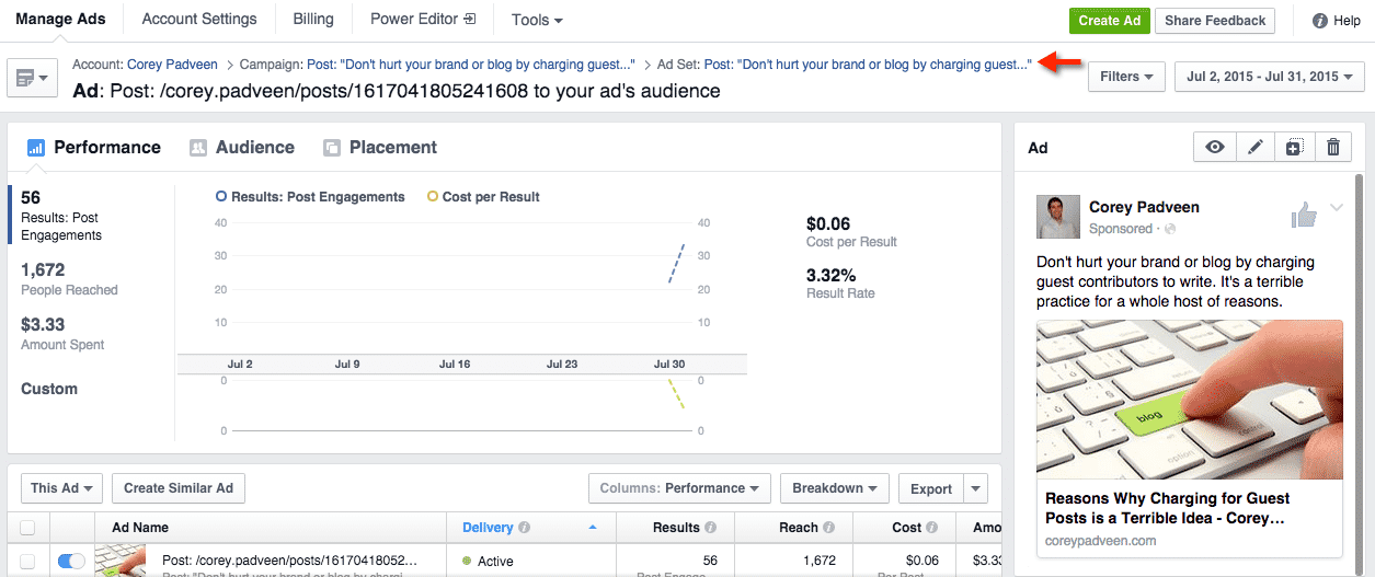 Facebook Ad Manager Ad Layers