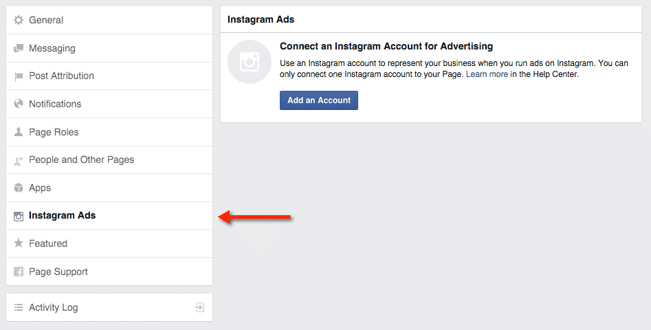 Connect your account for Instagram Ads